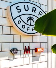 Surf Coffee front desk sign in Brick NJ